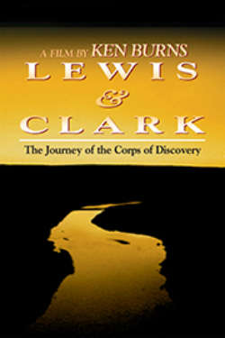The poster for 'Lewis & Clark: The Journey Of The Corps Of Discovery.' It shows a golden-hued river cutting through black countryside, with a golden sunset in the background.