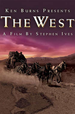 """A color poster for the film """"The West."""" It depicts a horse-drawn carriage racing along a dusty desert road as a dramatic pink and purple sky looms overhead."""