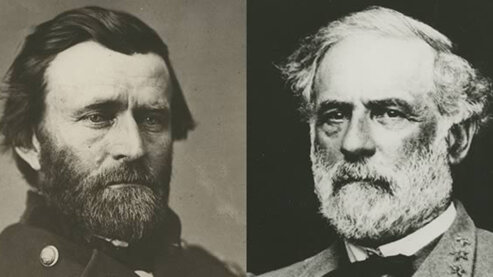 A black-and-white composite photo, split down the middle, showing both Ulysses S. Grant and Robert E. Lee. | Episode 6 | Valley of the Shadow of Death (1864)
