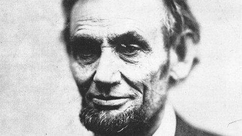 A black-and-white photo showing a close-up of Abraham Lincoln's face, circa spring 1865. | Episode 9 | The Better Angels of Our Nature (1865)